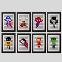 PICK 6 superhero wall PRINTS Super hero wall art boys room