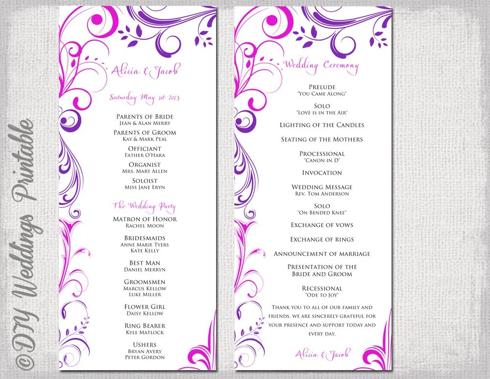 Wedding program template Purple \ Fuchsia Pink - sample program templates