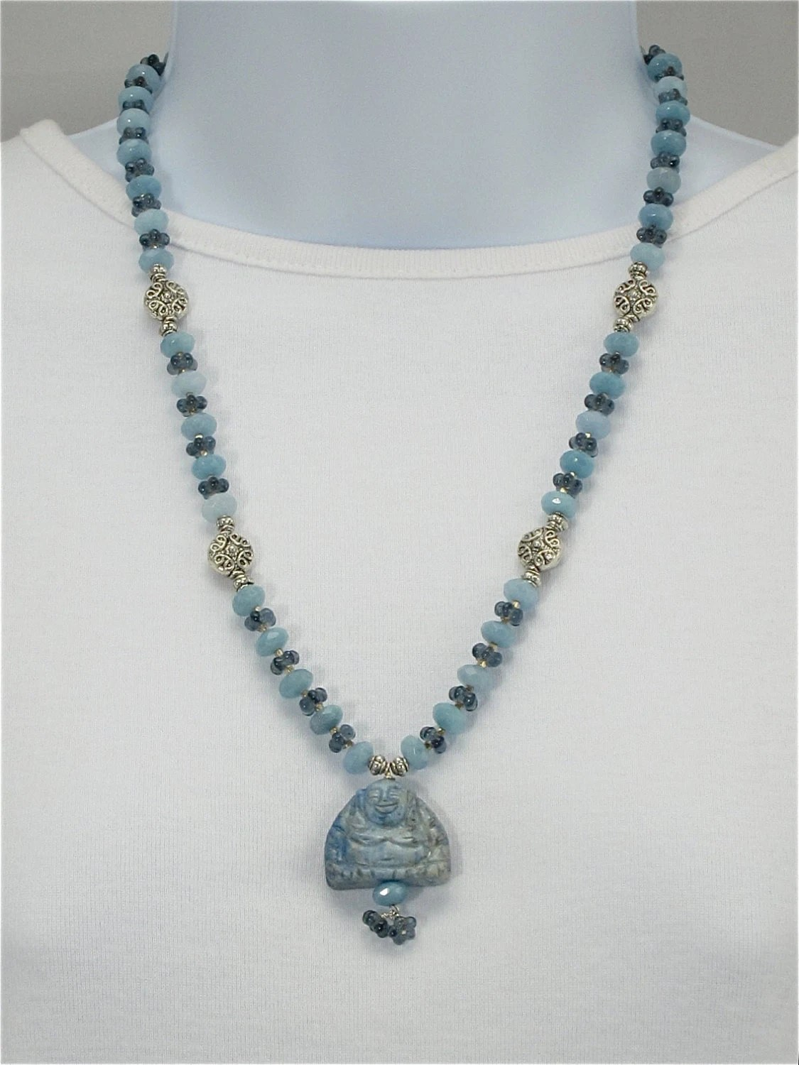 Blue Jade Buddha Necklace To Wear With By Cherylpetersondesign