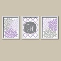 Purple Lilac Gray Nursery Wall Art, CANVAS or Prints ...