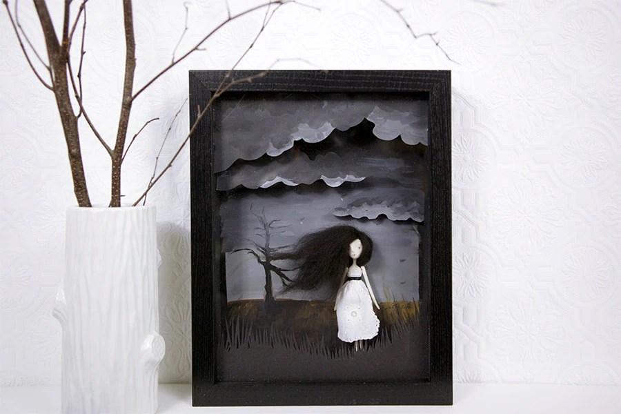 Art Doll Girl Shadow Box Art 3d Grey By Katkalandcreatures