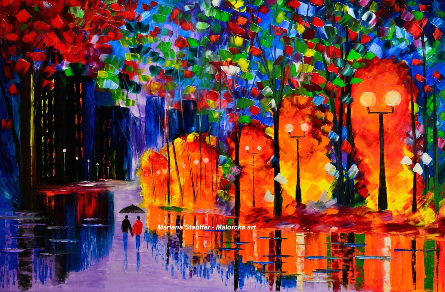Street Light At Night Painting Rainy Night Painting Couple Rain City Street Light By Malorcka