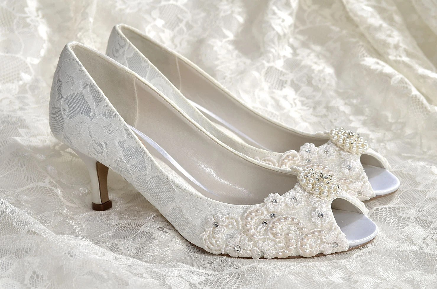 pearl bridal shoes wedding sandals for bride Wedding Shoes Medium Heels Custom Colors Vintage Wedding Lace Peep Toe Wedding Heels Women s Bridal Shoes PBP 2 25 Heels Pink 2 Blue