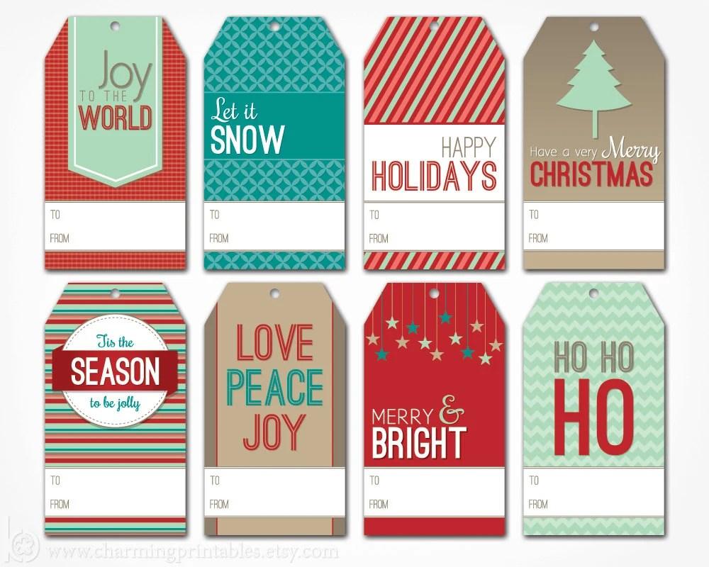 Printable Christmas Gift Tags - Digital PDF File - Instant Download