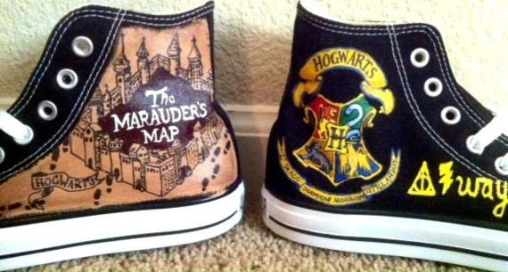 Custom Harry Potter Hogwarts and Maruader's Map Converse All Star Chuck Taylor DIY
