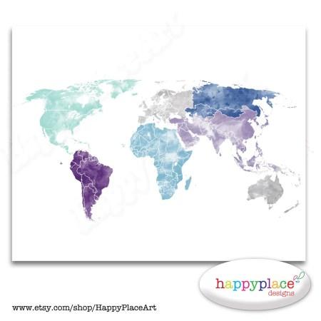 X 11 Printable World Map