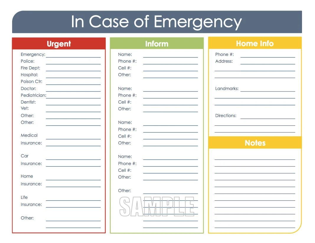 school emergency card template
