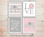 Grey And Pink Baby Girl Nursery Wall Decor