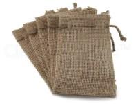 6 3x5 Small Burlap Bags Natural Rustic Burlap Bags with
