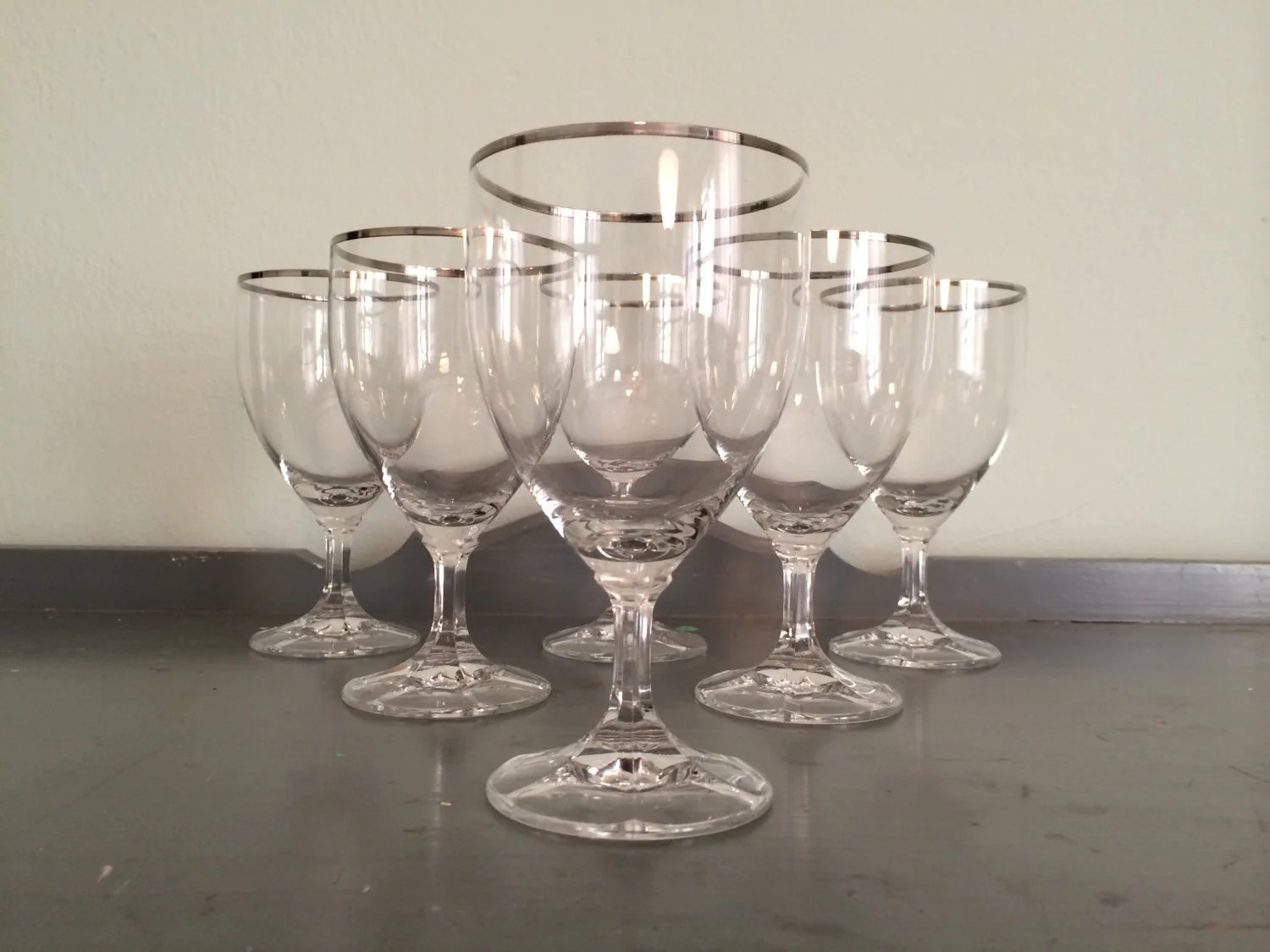 Large Crystal Wine Glasses Six Large Crystal Wine Glasses With Silver Rim Made In West