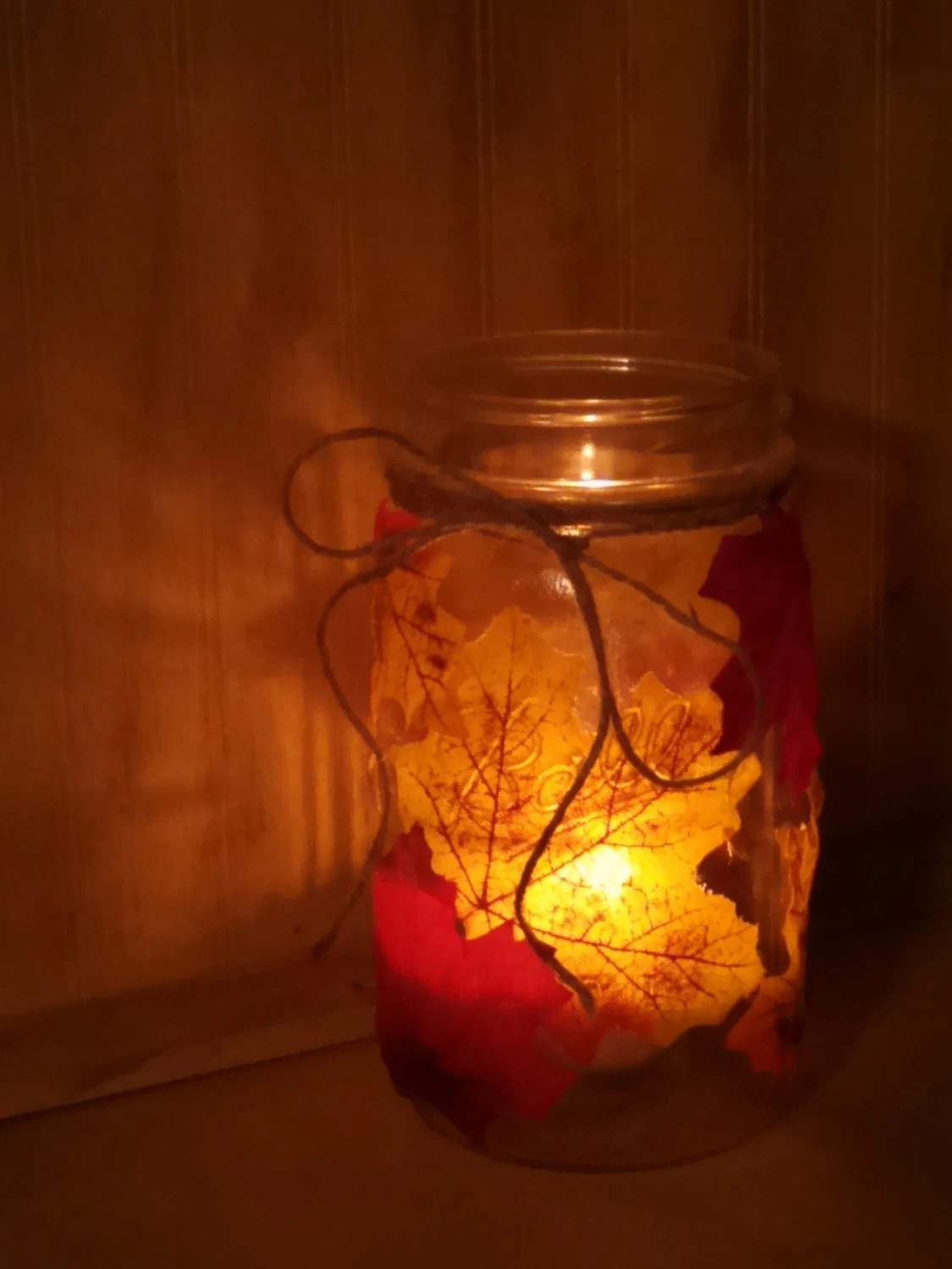 Cozy Fall Wallpaper Items Similar To Gorgeous Fall Leaf Mason Jar Luminary