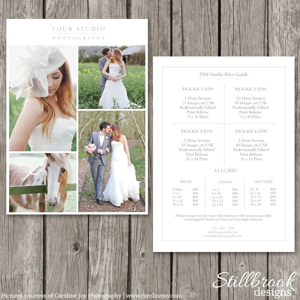 Photography Price List Template Wedding Price Sheet - wedding price list