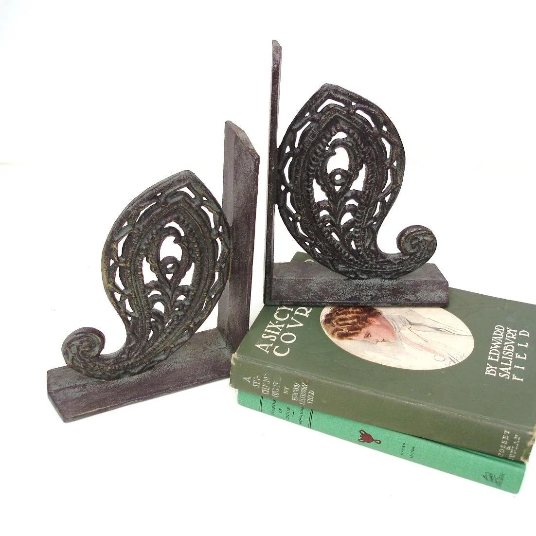 Kitchen Bookends Vintage Paisley Design Metal Bookends Cast Iron Book Ends