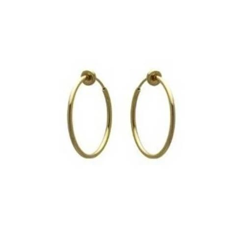 Goldtone Shiny Spring Clip On Hoop Earrings for both Pireced