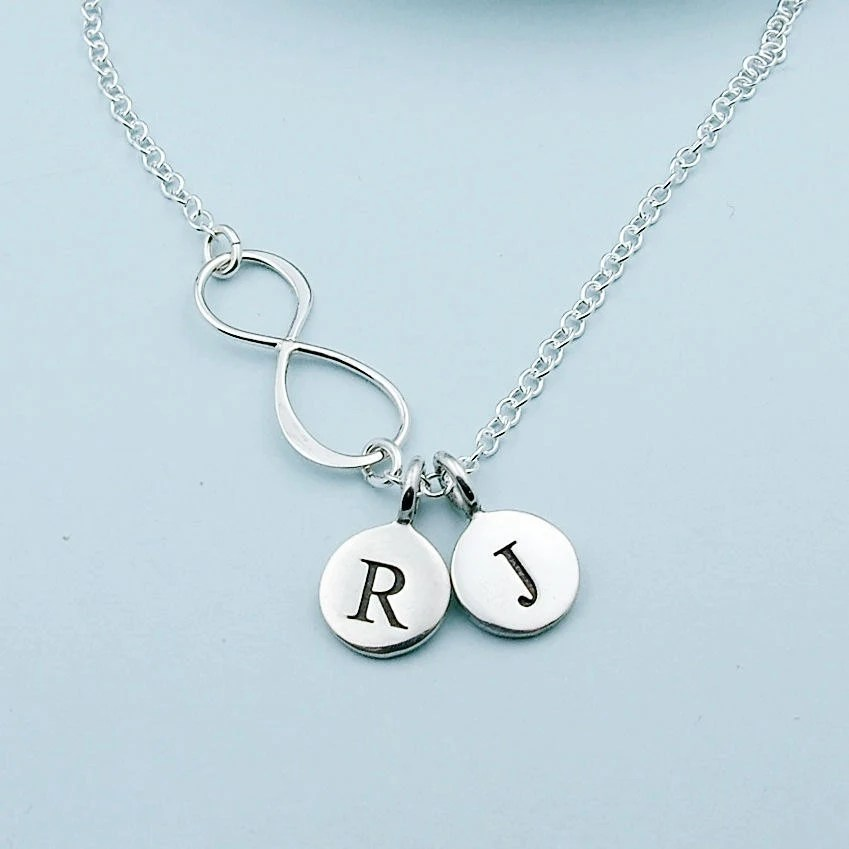 Personalized Infinity Necklace Initial Jewelry All Sterling