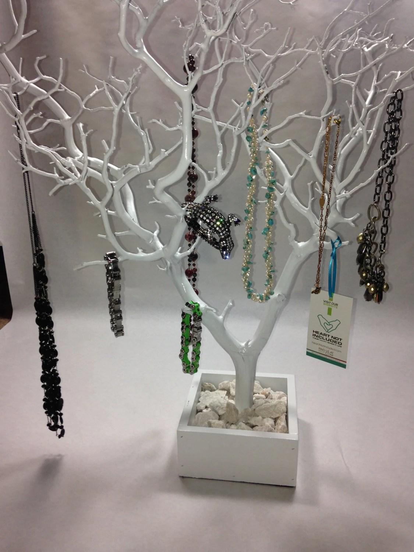 30 White Painted Tree Jewelry Holder Jewelry