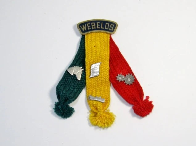Vintage Webelos Scout Badge Curved Pin Tassels And 4 Pins