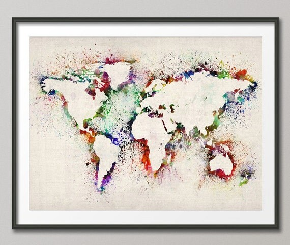 Map Of The World Map Abstract Painting Art Print 778 - Weltkarte Leinwand