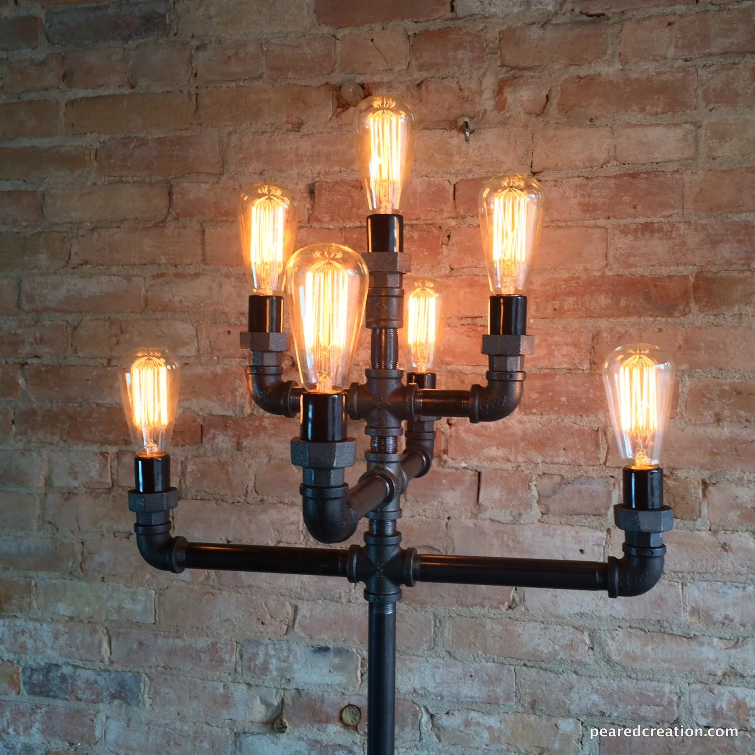 Industrial Looking Light Bulbs Floor Lamp Multiple Edison Bulb Industrial Style Iron