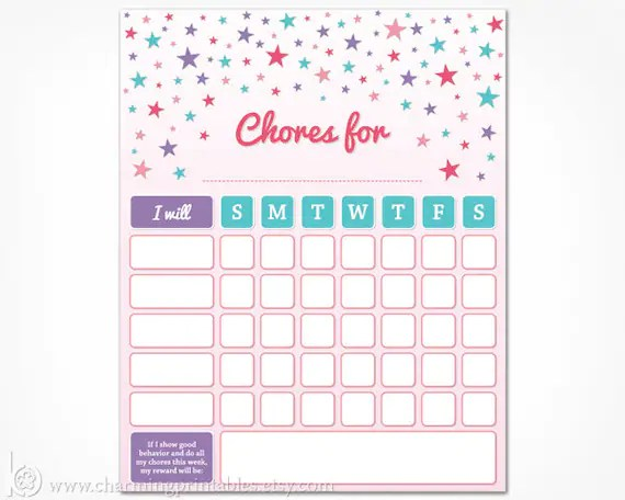 Chore Chart Printable for Kids - INSTANT DOWNLOAD Girls Weekly Chore
