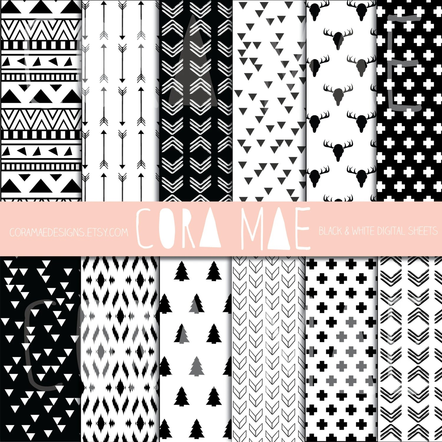 12x12 Poster 12x12 Black And White Tribal Prints Instant Download 12 Png