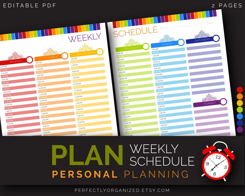 weekly schedule calendars