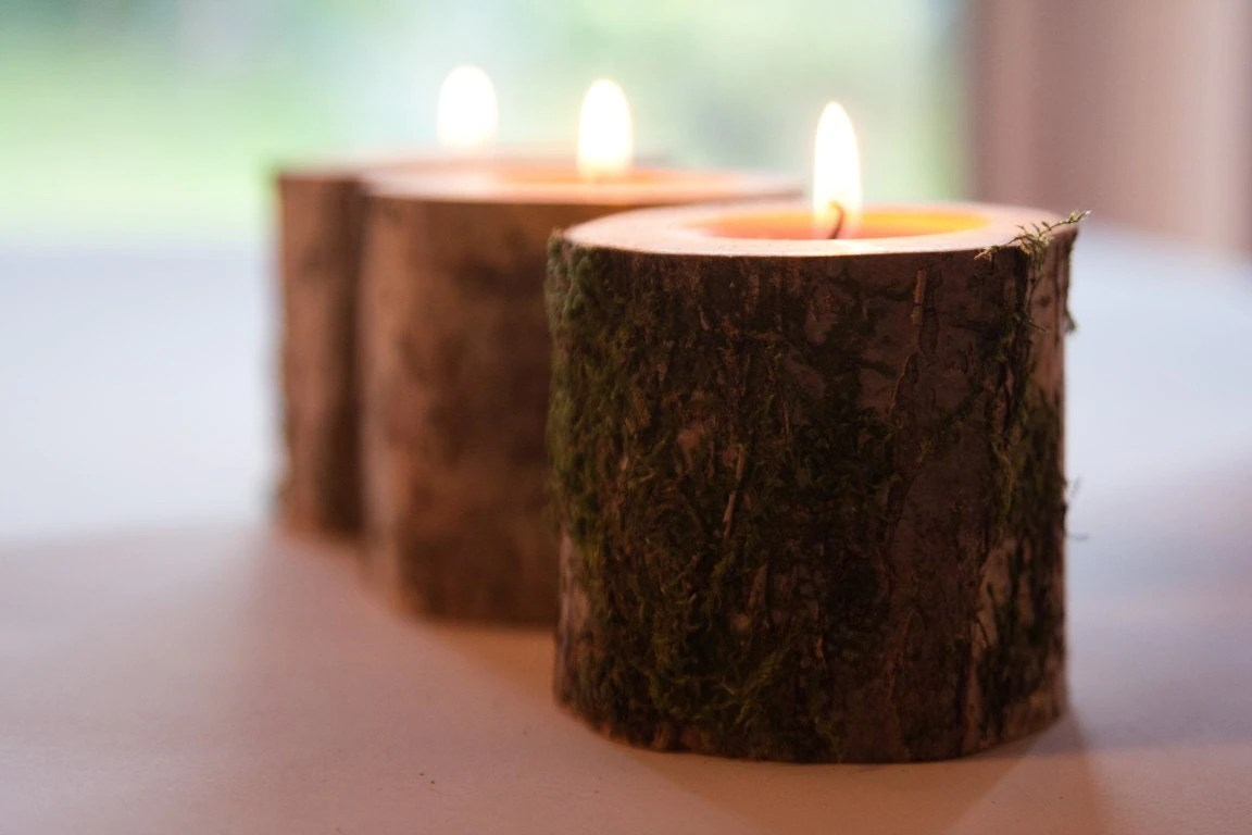 10 Rustic Candle Holders Tea Light Holder Woodland Wedding