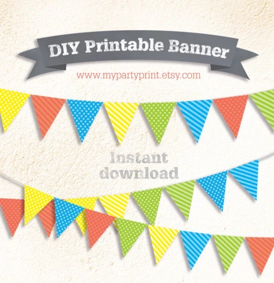 DIY Party Boys Printable Flag Bunting Banner (Dot / Striped) - Baby