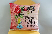 Alice in wonderland pillow We re all mad here pink red by ...