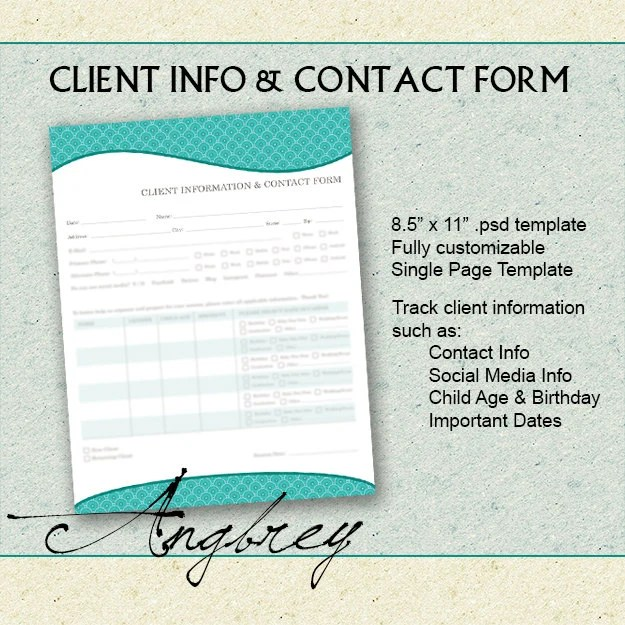 customer contact form template - important dates template