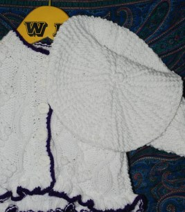White with purple trim Cardigan with hat