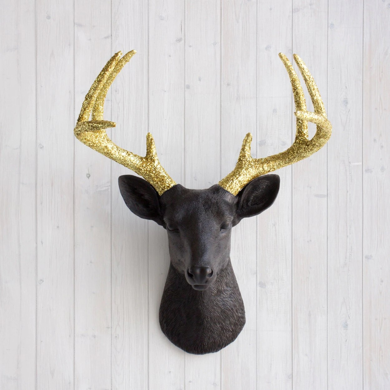 White Porcelain Deer Head Black And Gold Glitter Deer Head By Wall Charmers Faux