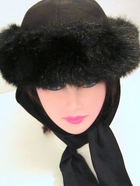 Vintage Womens Faux Fur Ladies Winter Hat Attached Scarf