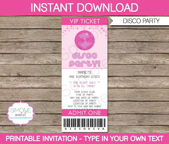 Disco Ticket Invitation Template - Birthday Party - INSTANT - printable ticket invitations