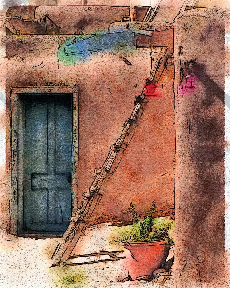 Pueblo Ladder New Mexico Photo Watercolor Art Of The Famous