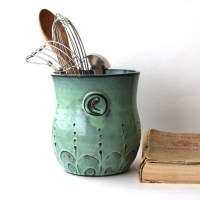 Monogram Kitchen Utensil Holder Aqua Mist Large Size