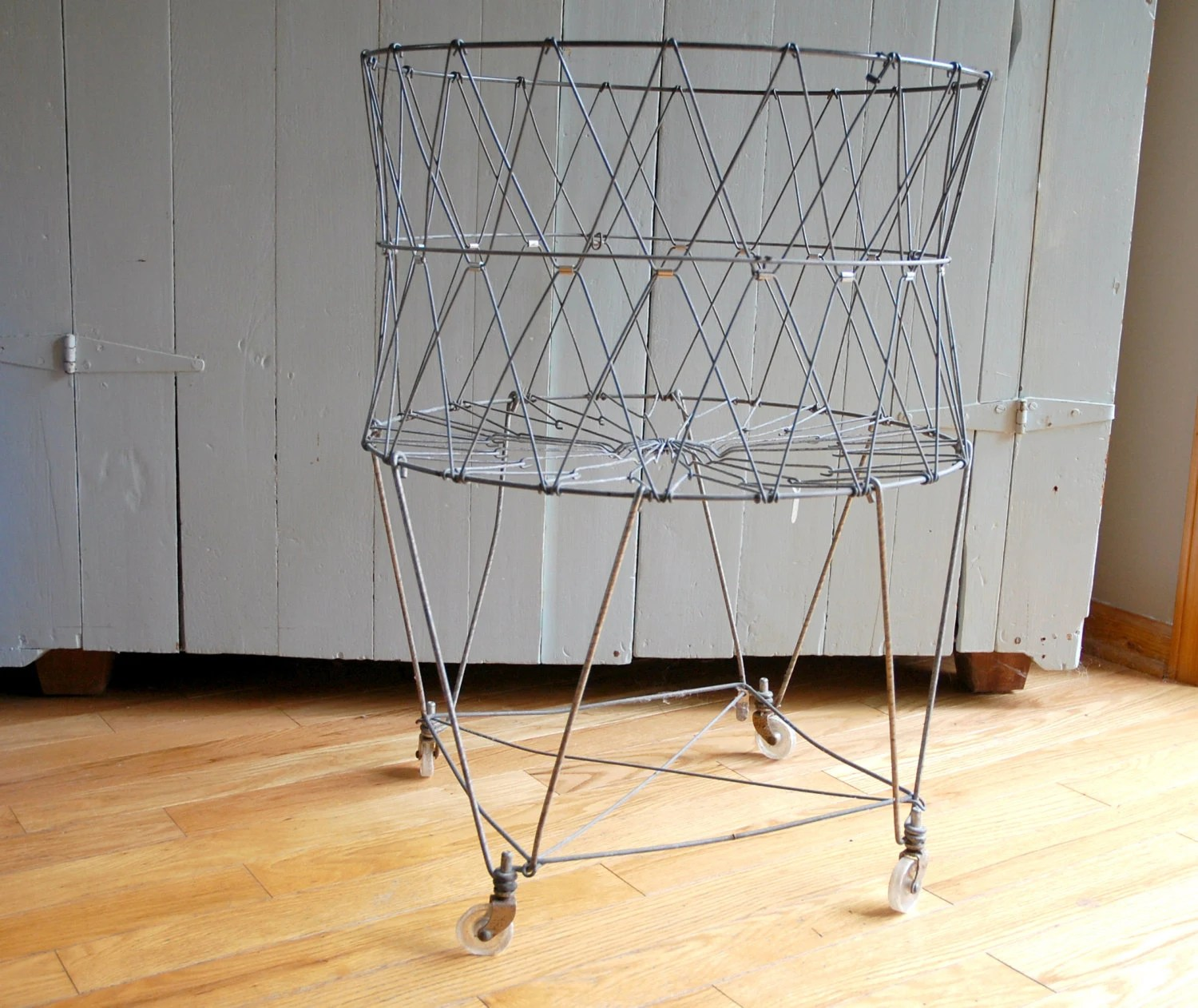 Wire Laundry Hamper On Wheels Vintage Wire Laundry Basket On Wheels