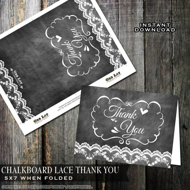 Chalkboard Thank you Cards, Lace Thank you Cards, Printable thank - printable thank you cards black and white