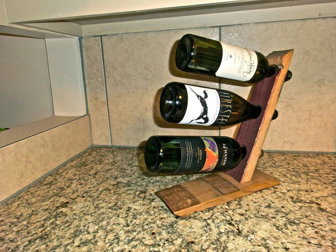 Countertop Wine Glass Holder Barrel Stave 3 Bottle Countertop Wine Rack By
