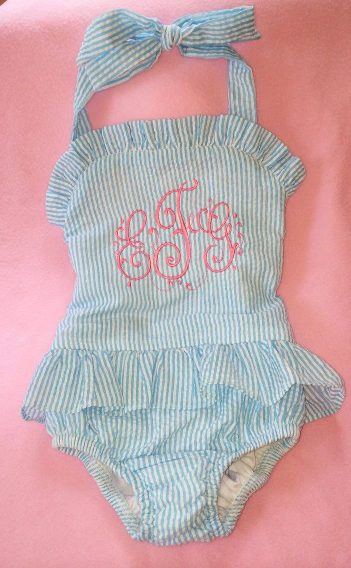 monogrammed baby swimsuit