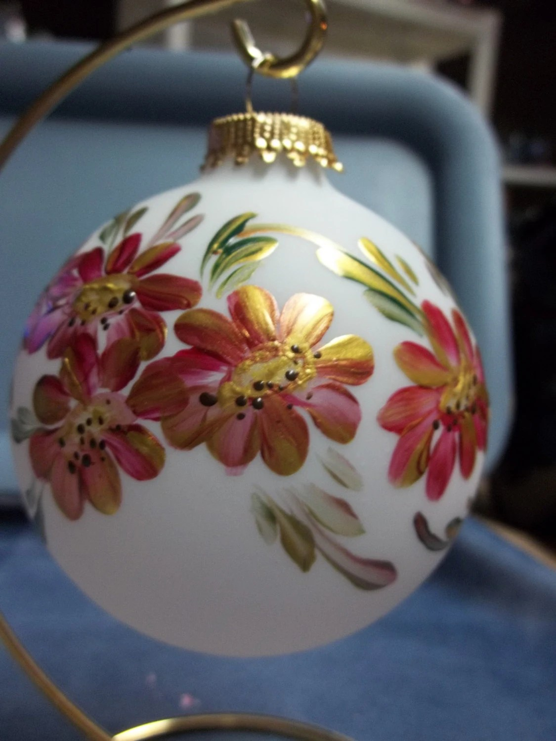 A Glass Christmas Tree Ornament Hand Painted Scandinavian