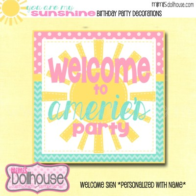 PERSONALIZED Sunshine Pink Teal Welcome Sign-You by MimisDollhouse