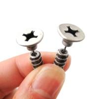 Realistic Screw Nail Shaped Fake Gauge Plug Earrings in Silver