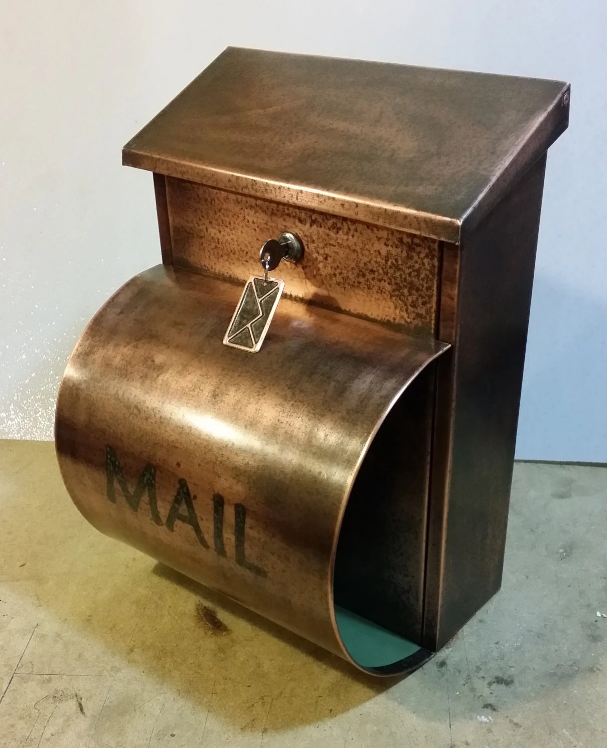 Copper Mailbox Patina Large Patina Copper Mailbox With Newspaper Holder 20 Ounce