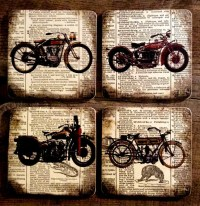 Items similar to Antique Motorcycles - Wood Coasters ...