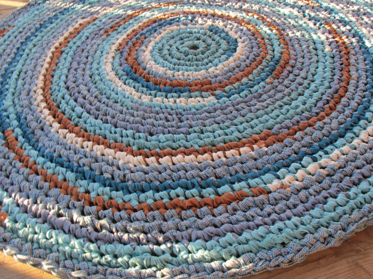 Sea Glass Mosaic Crochet Rag Rug Round Large Cotton Washable