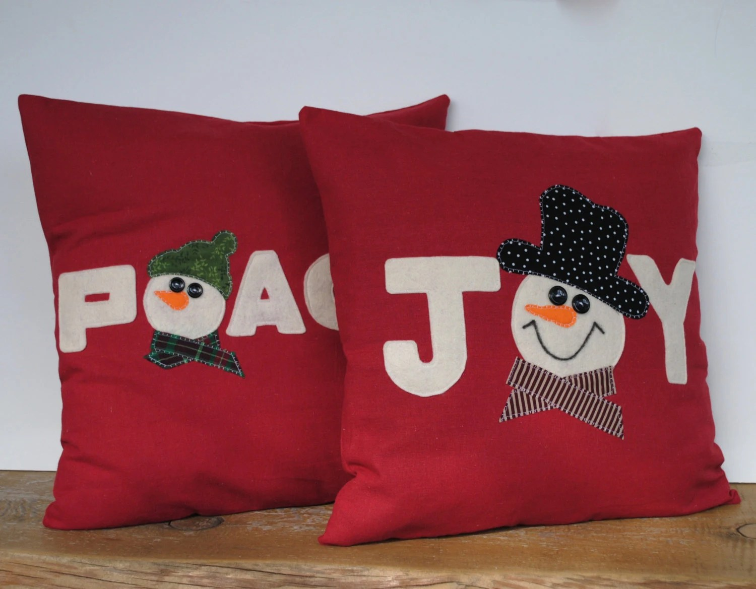 Cushion Covers Christmas Two Snowman Christmas Pillow Covers By Thatdutchgirlpillows