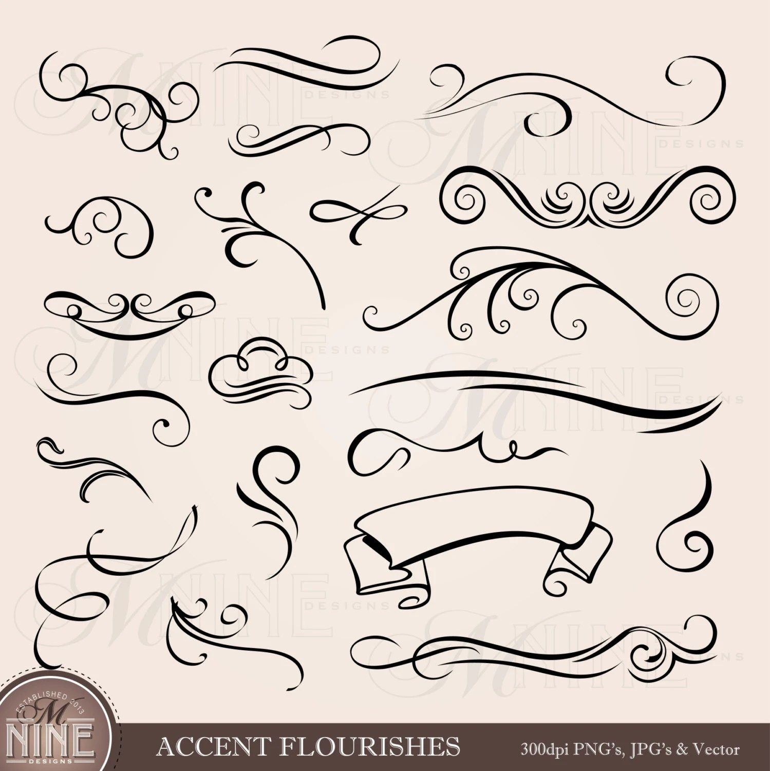 Accent Designs Accent Flourishes Clip Art Design Elements Instant
