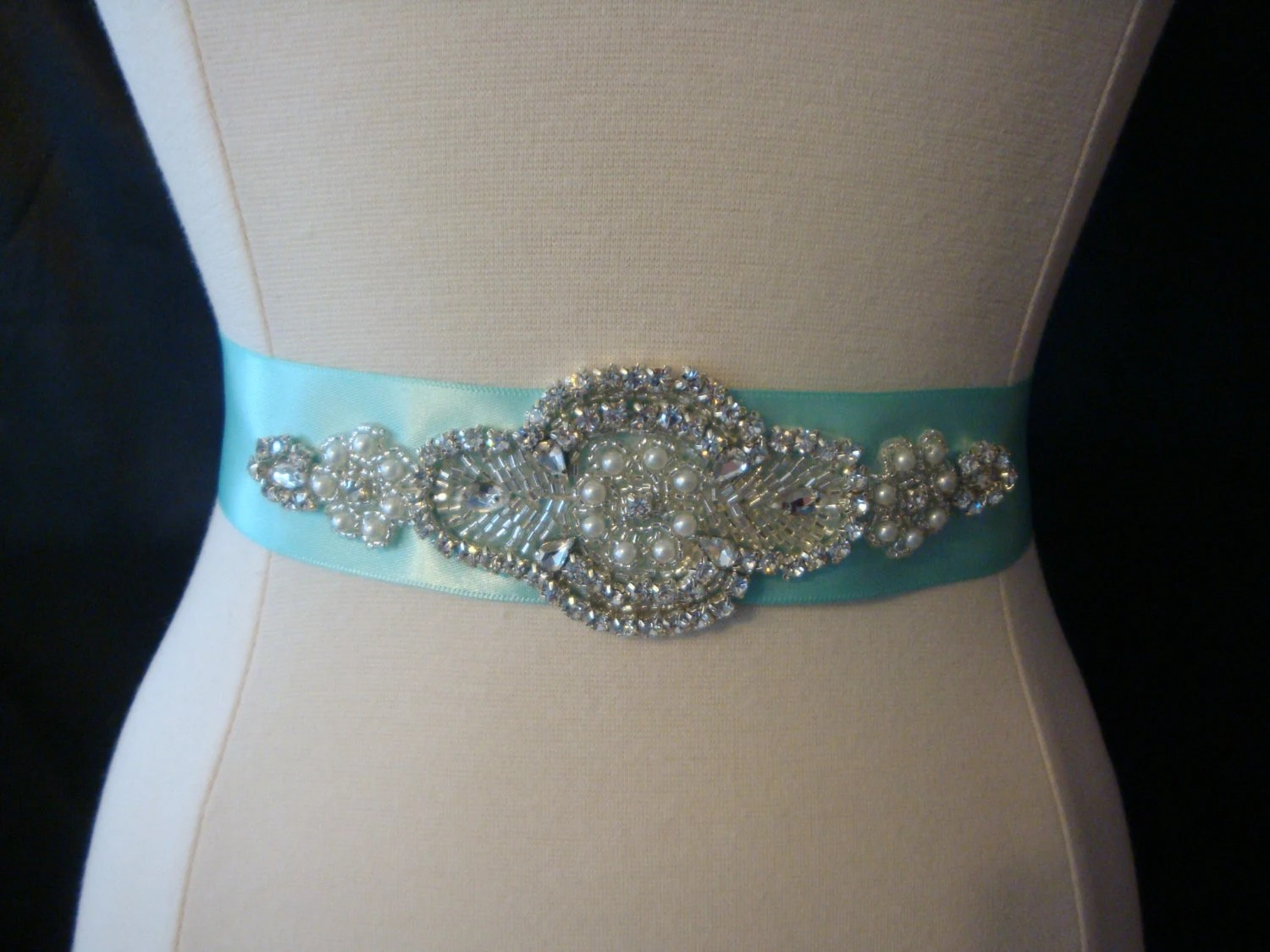 rhinestone bridal sash aqua blue wedding wedding sash zoom