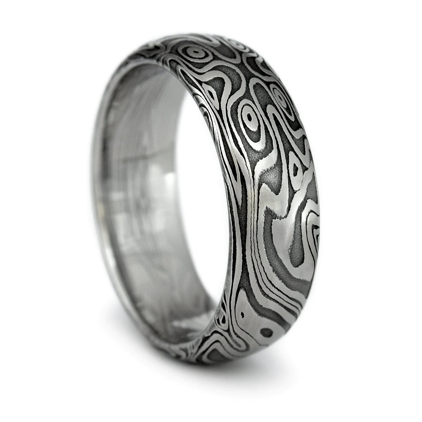 wood grain ring damascus steel mens damascus wedding band zoom